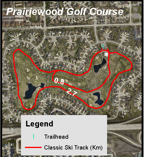 This image shows a map of the ski trail at Prairiewood Golf Course.