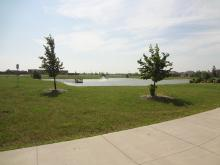 This image shows the fishing pond at Woodhaven North Park.