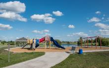 This image shows the playground at Woodhaven North Park.