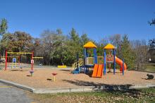 This image shows one of the playgrounds at Trollwood Park.