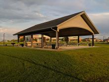 This image shows one of the large shelters at Urban Plains Park.
