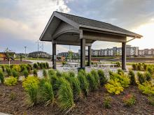 This image shows a small shelter at Urban Plains Park.