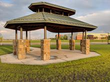 This image shows a shelter at Urban Plains Park.