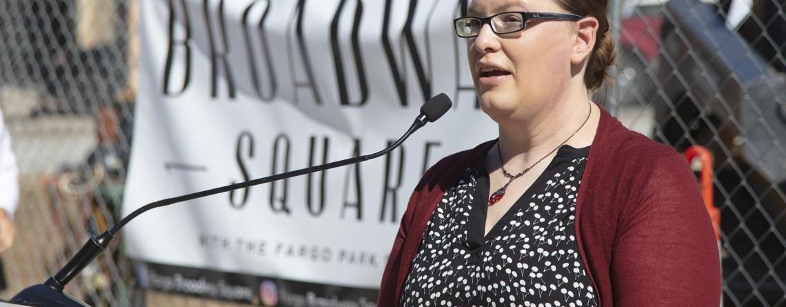 This image shows Broadway Square's manager, Ana, speaking at the Broadway Square Launch.