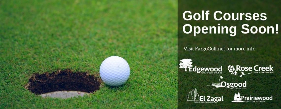 This image shows a graphic of the golf courses opening soon.