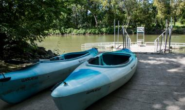 This image shows kayak rentals and launch at Forest River Park