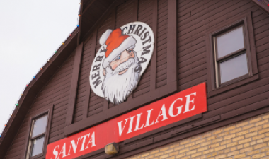 This image shows a photo of Santa Village at Rheault Farm.