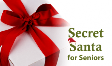 "Photo shows gift with text that reads ""Secret Santa for Seniors"""