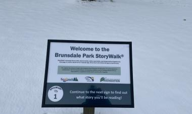 This image shows one of the signs at the Brunsdale Park StoryWalk.