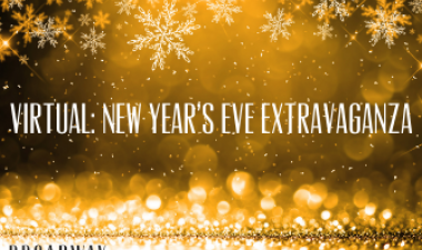 This image shows a black and gold background with the words Virtual New Year's Eve Extravaganza across the middle.