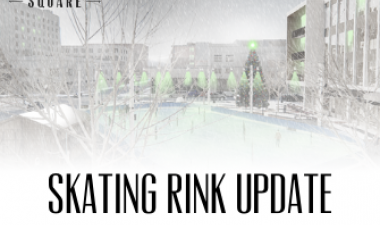 This image shows a graphic of Broadway Square's ice skating rink update.