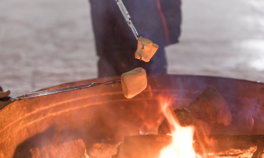 This image shows a picture of a marshmallow roasting on an open fire.