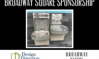 This image shows a Broadway Square sponsorship graphic featuring Design Direction.