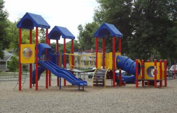 This image shows the playground at Horace Mann Park.