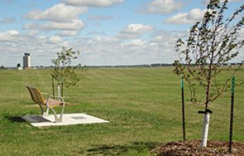This image shows the bench and field at Airport Park.
