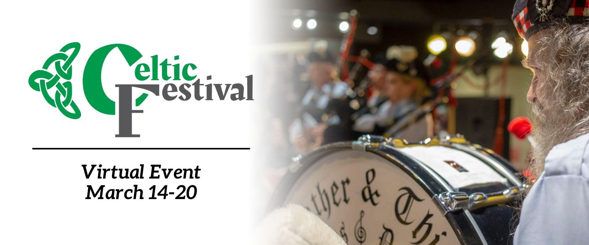This image shows a graphic of virtual Celtic Festival.