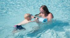 Swimming lessons at Davies Recreational Pool.