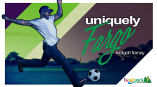 This image shows a graphic of FootGolf Frenzy, a Uniquely Fargo event.