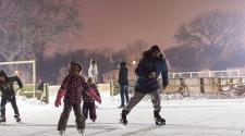 This image shows some people skating around during S'mores and More.