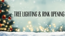 This image shows a graphic of Broadway Square's Tree Lighting and Rink Opening event.