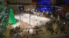 This image shows Broadway Square from above during the Christmas Tree lighting and rink opening event.