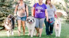 Photo shows women walking their dogs on leashes.